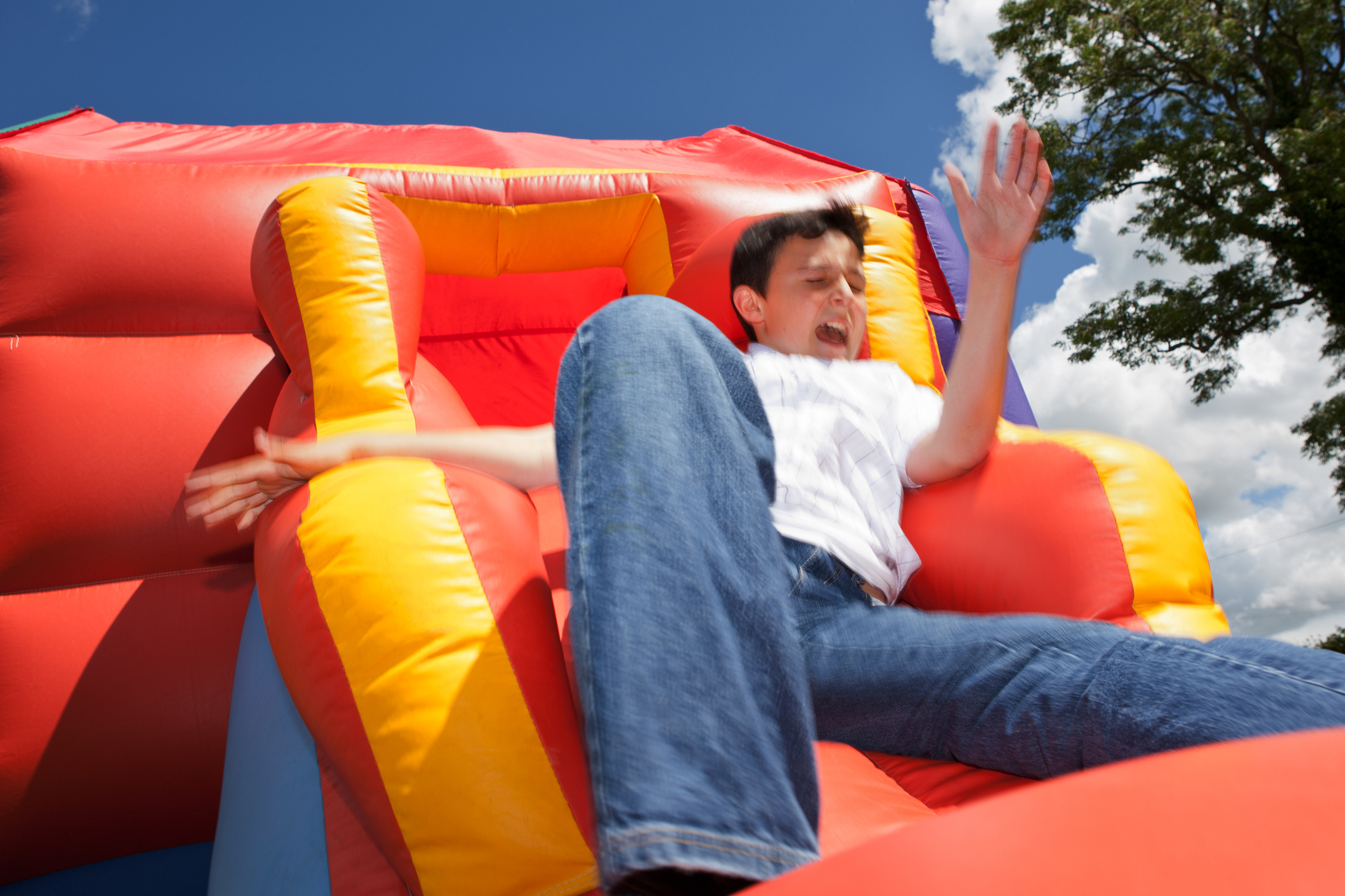 Inflatable slide (bouncy castle) accident.