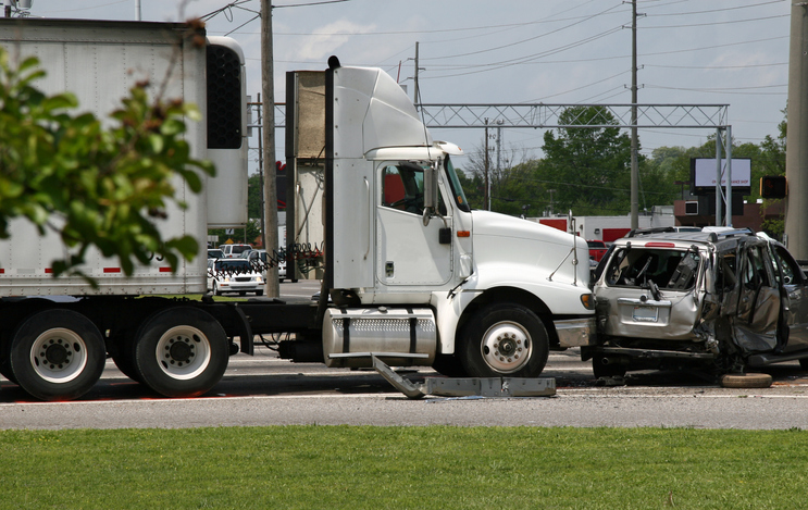 This big rig T-boned the other vehicle.